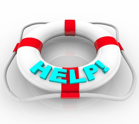 preserver: A white life preserver with the word Help