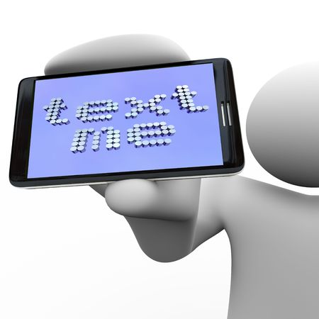 message: A person holds a smart phone with the message Text Me Stock Photo