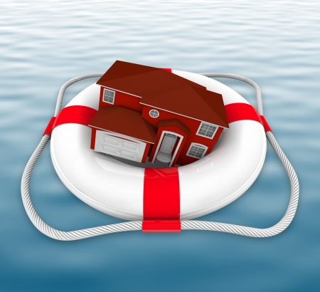 A home in a life preserver adrift at sea photo