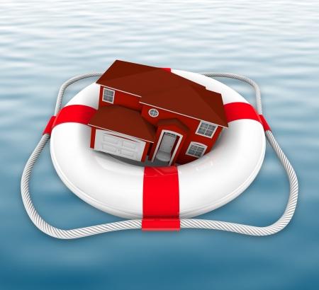 Een huis in een leven beschermer drift op zee  Stockfoto - 7232143