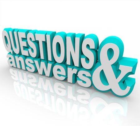 asking: The words Questions and Answers in 3D and on an angle Stock Photo