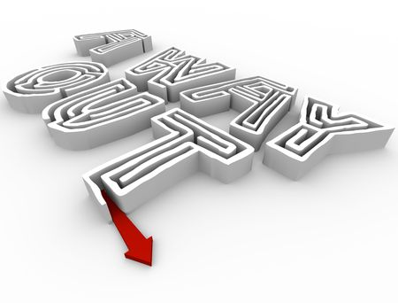 way out: A red arrow escapes from a maze in the shape of the words A Way Out Stock Photo