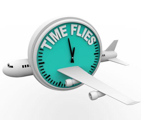 Un aeroplano con orologio lettura Time Flies  Archivio Fotografico - 7299353