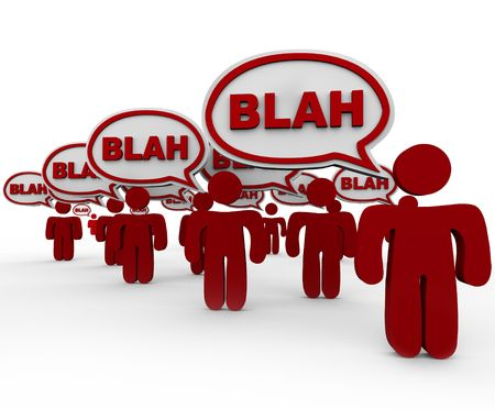 noise pollution: Many red people standing in crowd talking with speech bubbles containing word Blah. Stock Photo