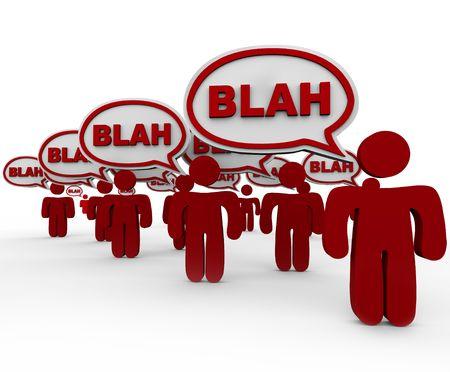 Unsinn: Viele rote Menschen in Masse, die Gespr�ch mit Sprechblasen, die mit Wort Blah stehen.