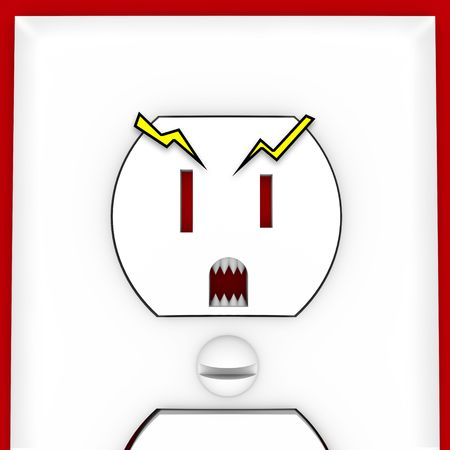 using mouth: An electrical outlet with scary eyes, mouth and teeth