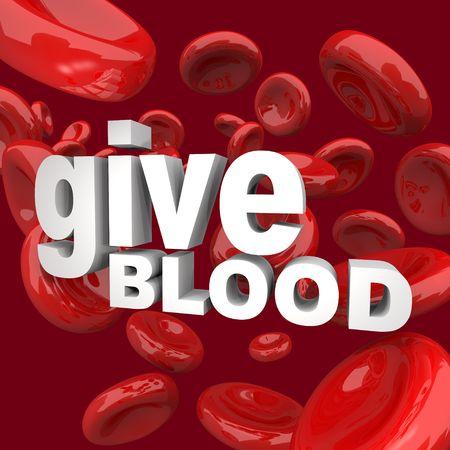 Thw woorden geef bloed omgeven door rode cellen  Stockfoto