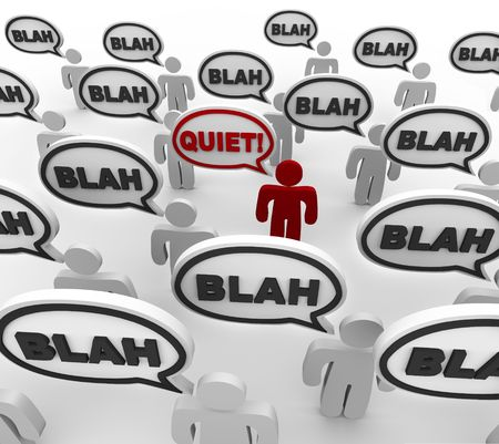 noise pollution: A crowd of people in disorganized communication, with one person yelling Quiet!