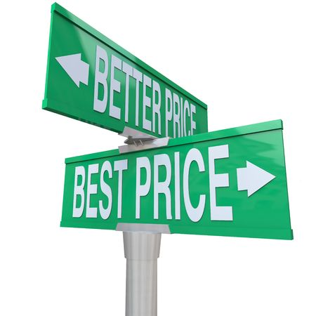 arrow right: A green two-way street sign pointing to Better Price and Best Price