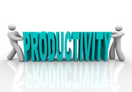 productividad: Dos personas juntas empujar cartas para formar la palabra productividad  Foto de archivo