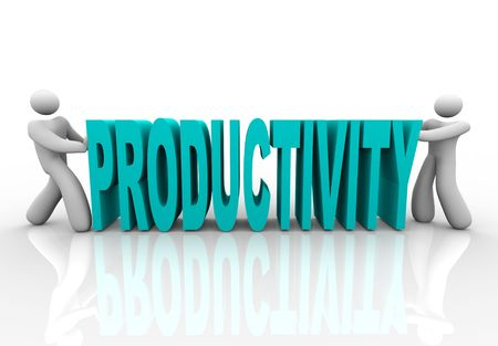 Two people push together letters to form the word Productivity Stockfoto