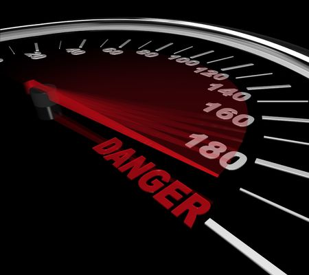 The needle on a speedometer points to the word Danger Stock Photo - 7383661