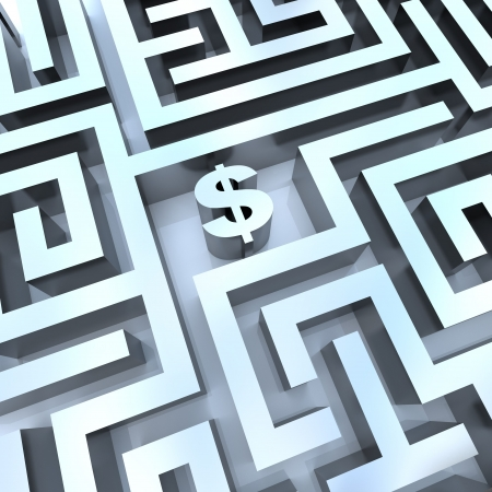 A dollar sign in the middle of a maze, symbolizing the solution for making money Stock Photo