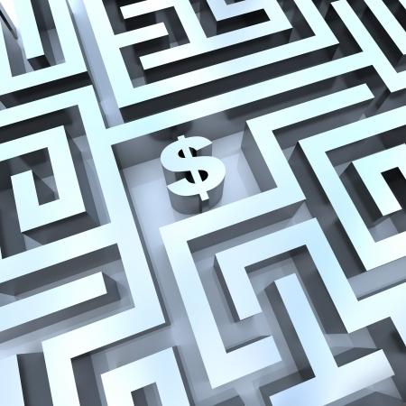puzzelen: Een dollar teken Midden in een doolhof, symboliseert de oplossing voor het maken van geld Stockfoto