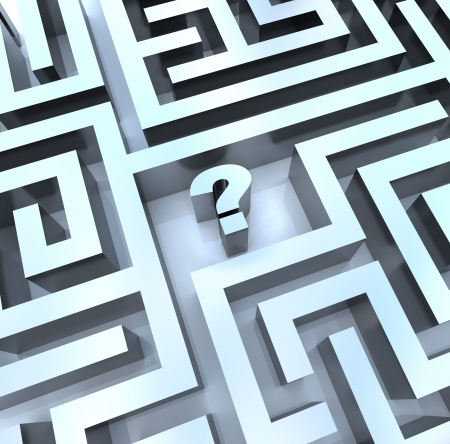 answers concept: A question mark in the middle of a maze, symbolizing the need to search for an answer