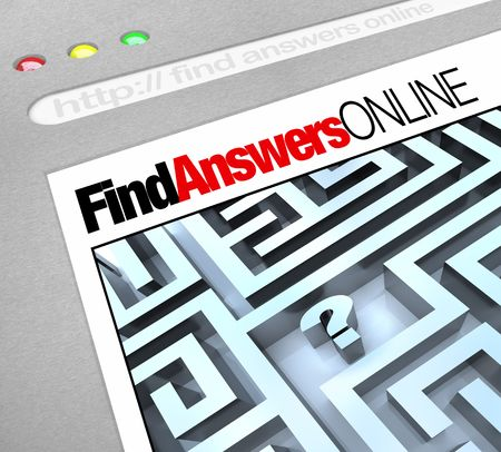 A web browser window shows the words Find Answers Online and a question mark in a maze Stock Photo - 7383667