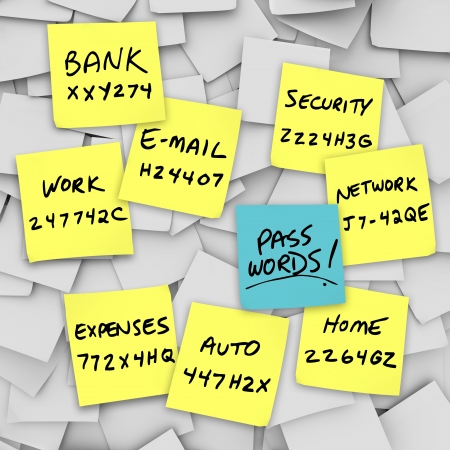 secret password: Many sticky notes with the passwords written on them as reminders