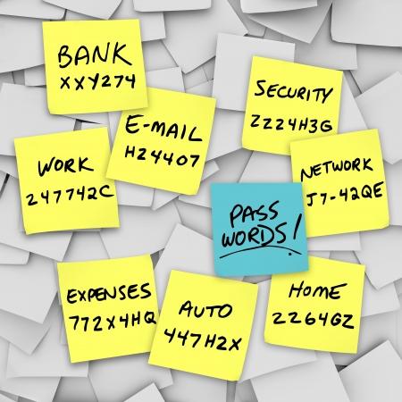 sauvegarde: Nombreuses sticky notes avec les mots de passe �crits sur les rappels