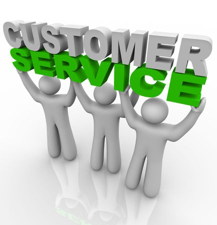customer service representative: Three customer service representatives lift the words