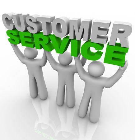 servicio al cliente: Tres representantes de servicio al cliente levantar las palabras