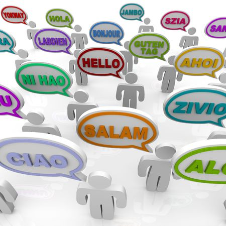 Many people from different cultures say the word hello in their native languages photo
