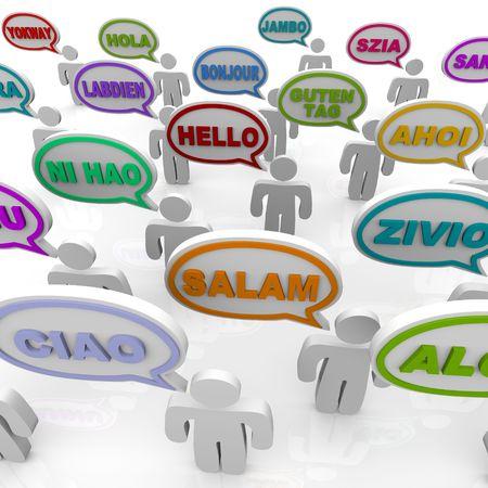 Veel mensen uit verschillende culturen groet het woord in hun eigen taal  Stockfoto