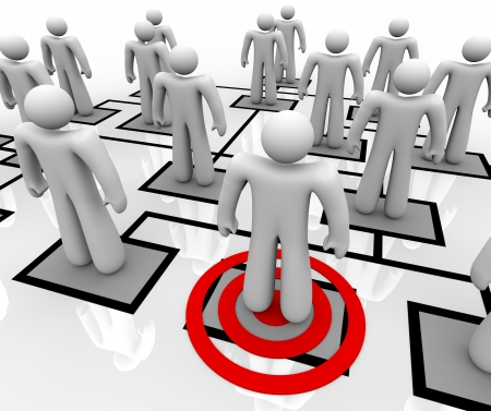 managing: A red target centers on one employee in an organizational chart