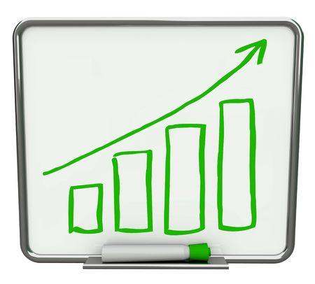 marcador: Barras de crecimiento y la flecha sobre blanco seco borrar placa con marcador verde