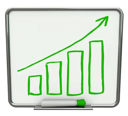 business results: Growth bars and arrow on white dry erase board with green marker Stock Photo