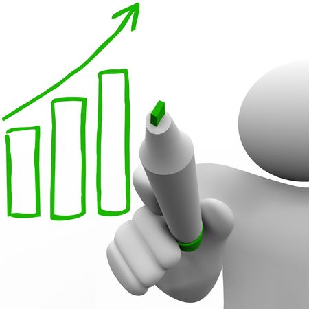 charting: A person draws a growth bar chart on a board with a marker Stock Photo