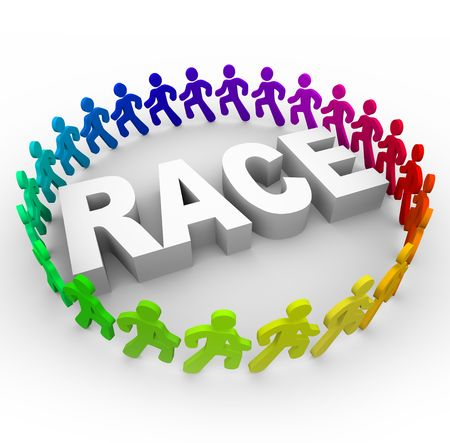 adversaries: Many runners of different colors run around the word Race Stock Photo