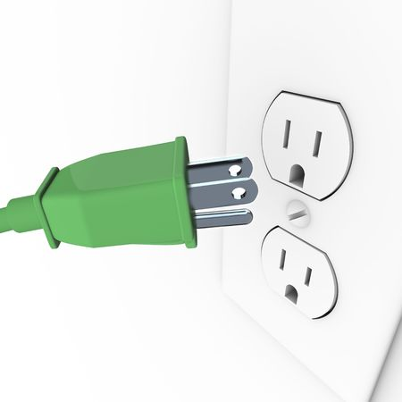 electric utility: A green heavy duty electrical plug connects to a wall outlet Stock Photo