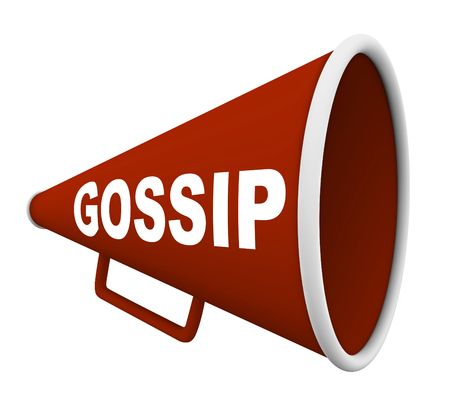 A red bullhorn with the word Gossip on it photo