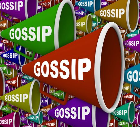 innuendo: Many Bullhorns with the word Gossip on it