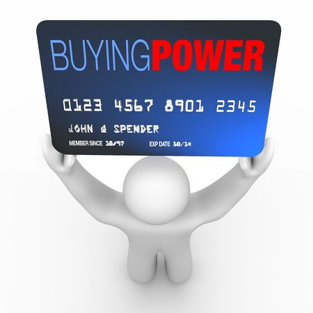debtor: A credit card with the words Buying Power held by a consumer