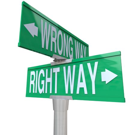 A green two-way street sign pointing to Right Way and Wrong Way photo