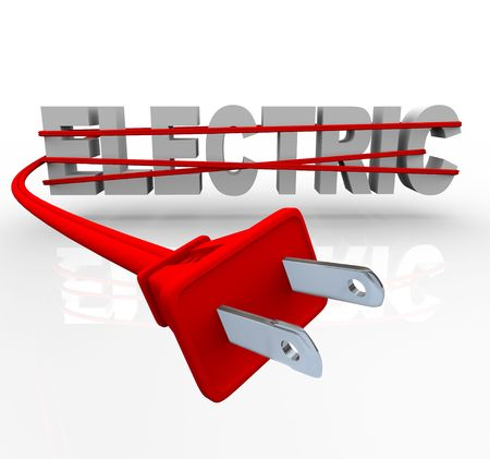 The word Electric wrapped in a red power cord Reklamní fotografie - 7574399
