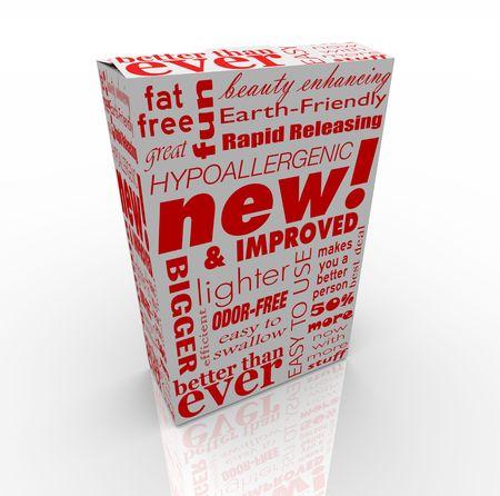 Een doos met veel promotie berichten op, zoals de nieuwe en verbeterde Stockfoto