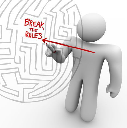 solve problems: A person draws an arrow straight through a maze to the words Break the Rules