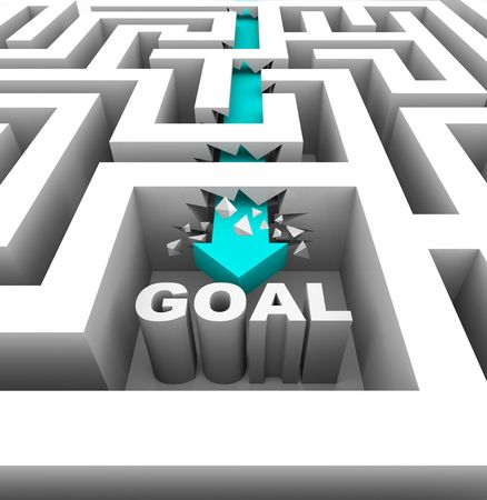 overcome a challenge: A arrow breaks through walls in a maze to reach a goal