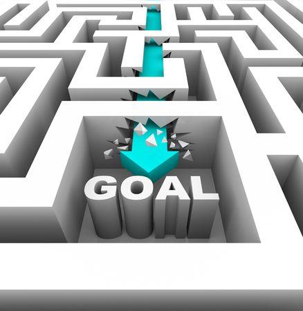 overcoming: Una flecha rompe a través de paredes en un laberinto para alcanzar un objetivo