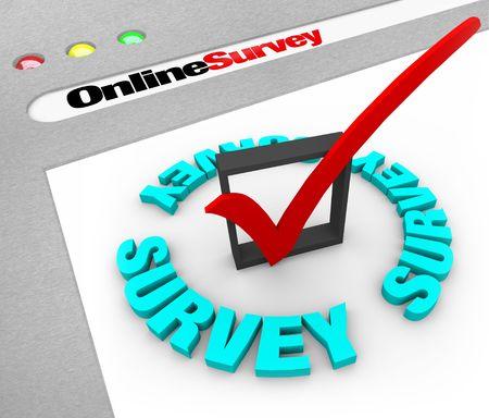 Ein Web-Browser-Fenster zeigt die Worte Online-Umfrage und ein Häkchen im Feld  Standard-Bild - 7608585