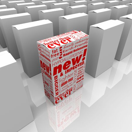 product box: Un pacchetto di prodotti nuovi e migliorati si distingue dalla concorrenza