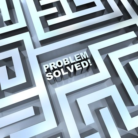 containing: A maze containing the words - Problem Solved