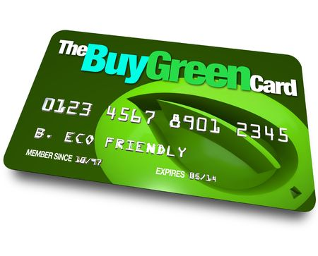 A credit card with the name Buy Green with a background of a leaf symbolizing environmentally friendly choices Stock Photo - 7635476