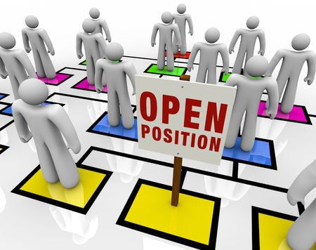hiring: An empty square in an organizational chart with a sign reading Open Position