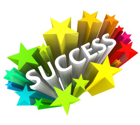 The word success surrounded by colorful 3D stars Archivio Fotografico
