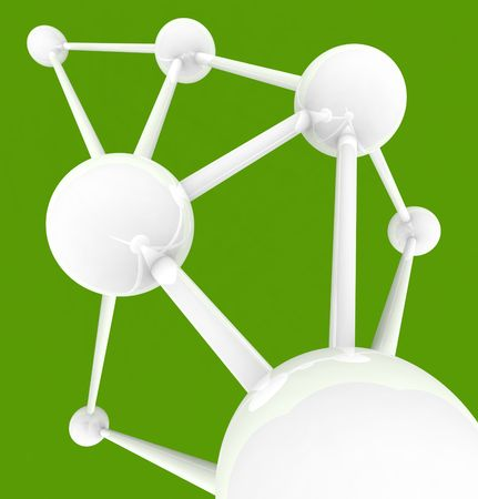 synergies: Several connected spheres with many links symbolizing intercommunication