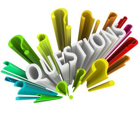 Fragezeichen: Das Wort Fragen umgeben von Fragezeichen