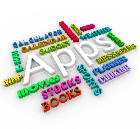 listing: La palabra Apps en el centro de un collage de palabra listado de diferentes tipos de aplicaciones que se encuentran en un tel�fono inteligente